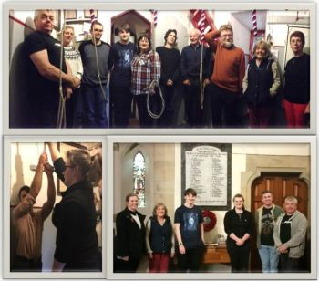 Some of the ringers who took part in Ringing Remembers at Benfieldside, whether for call changes, methods or the later half-muffled Quarter Peal