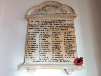 Oddfellows Earl of Yarborough Lodge WW1 Memorial including two Newport ringers F J Chiverton and W J C Millgate.