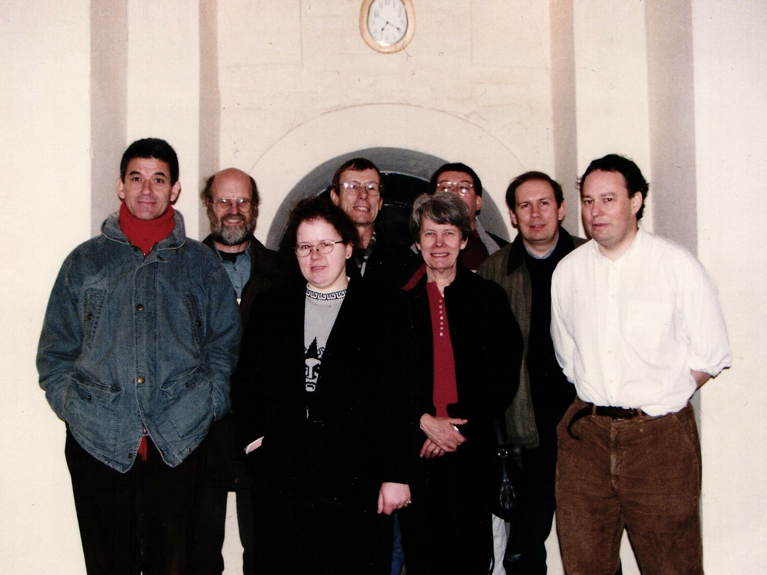 The band (front - l to r): Roger Bailey, Iona McLachlan, Prudence Fay, Roger Booth (rear - l to r): Martin Sutcliffe, Peter Blight, Chris Small, Steve Russ.