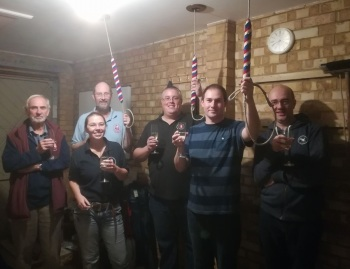 The band who rang in all 10 Qs today, sponsored in aid of Milton Regis Bell Restoration & Augmentation.  From L-R: Richard Bushell, Ali Ducker, Jim Attwood, Doug Davis, Chris Trafford, Darren Elphick