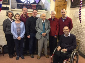 Dennis at 100. L to R: Mary Gow, Geraldine Forster, Roger Forster, Andrew Downes, Dennis, Steve Mitchell, Adrian Udal, Mike Wigney