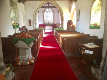 The Church as beautified today for Harvest Festival by the Verger.