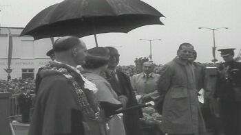 The Queen and Duke of Edinburgh at the official opening of Pelham Bridge on 27th June 1958.