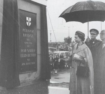 The Queen officially opening of Pelham Bridge on 27th June 1958.