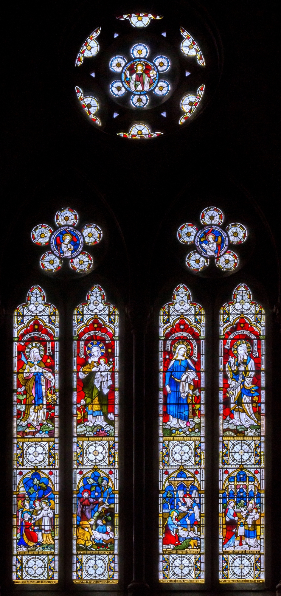 The Great West Window in All Saints given by the Marquess of Ripon in memory of his mother the Countess of Ripon.