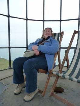 Fliss at the top of Old Light on Lundy