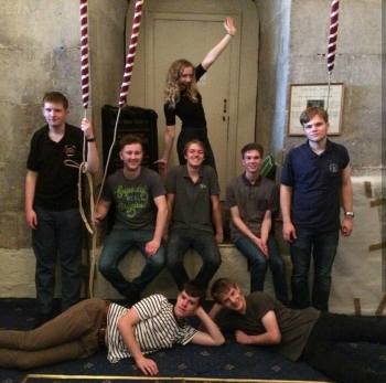 Front (L to R): William Stafford, Jack Edwards. Middle (L to R): David Thomas, Luke Groom, Connor Hodkin, Alex Runting and Ashley Monck. Then Rachel posing behind.