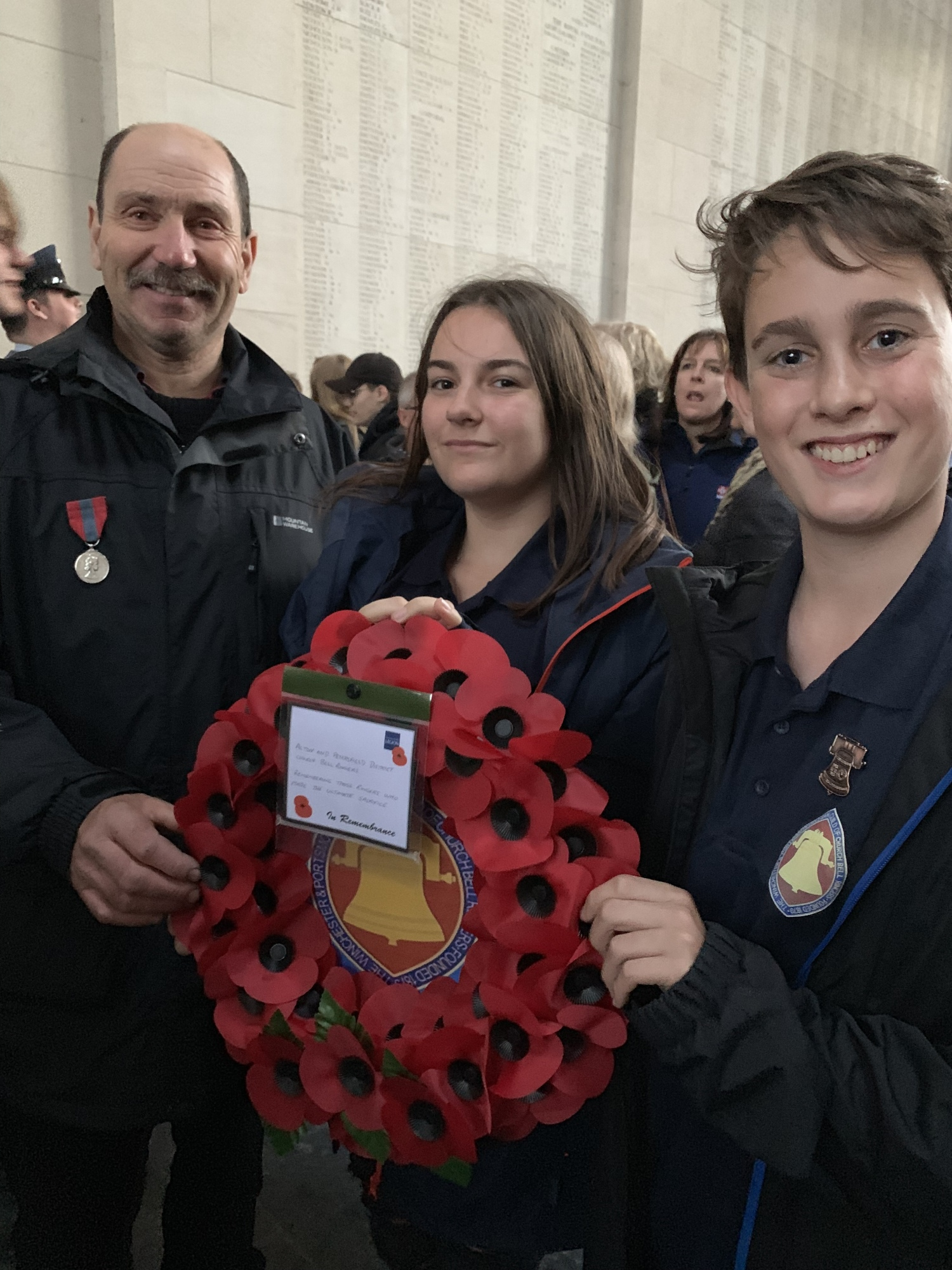 Remembering those ringers who made the ultimate sacrifice. Roger Barber, Emma Hornsby & Samuel Marriott at the Last Post Ceremony Menin Gate Ypres.