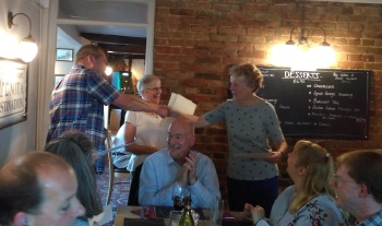 Alan Moult presents certificates to Pam Ebsworth and Val Mayhew to recognise 50 years of service to Church Bell-ringing. Applauded by David and Lesley Steed, Christopher Moore, Lucy and Stephen Dawson and other members of the Suffolk Guild of Ringers. 10/06/2017