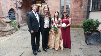 The Bride and Groom with their Best Man and Maid of Honour