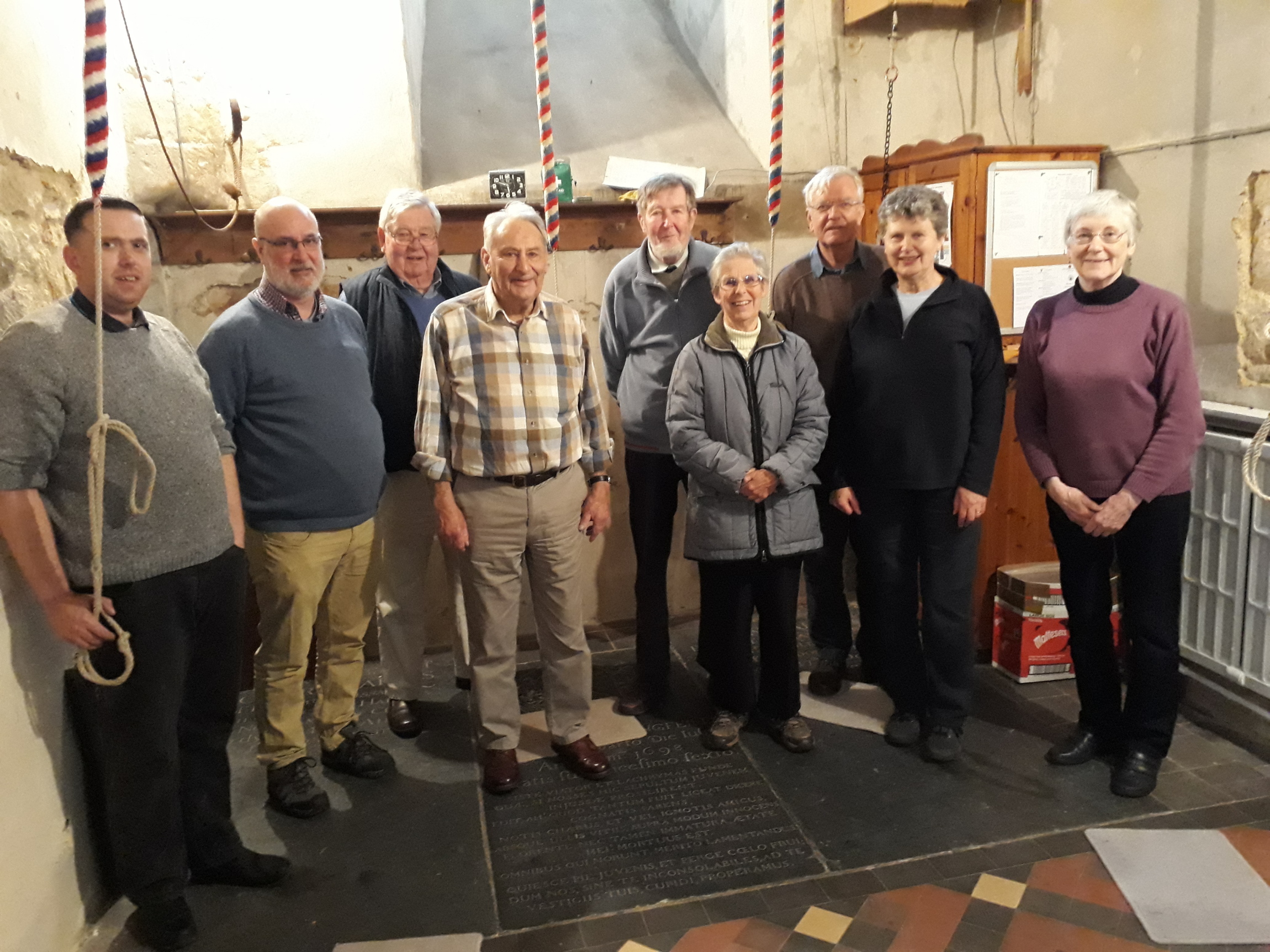 The band, including the Team Rector, David Meakin (2nd from left) with Stephen and Peggy Sidebotham (5th and 6th from left) and Stan Killick, Churchwarden (3rd from left).