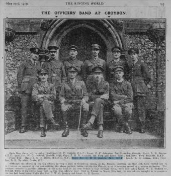 Originally published 23 May 1919, it shows the full band that rang a peal of Grandsire Caters at South Croydon on 3 May 1919 (subsequently found to be false).  All eight of the band who rang in the first officers' peal at Putney were also in that band.