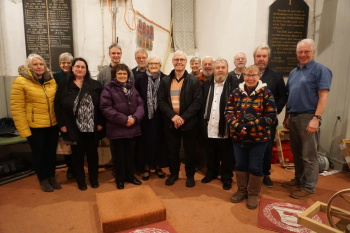 Doris's children and their partners who joined the ringers in the ringing room after the Quarter Peal and for the lower.
