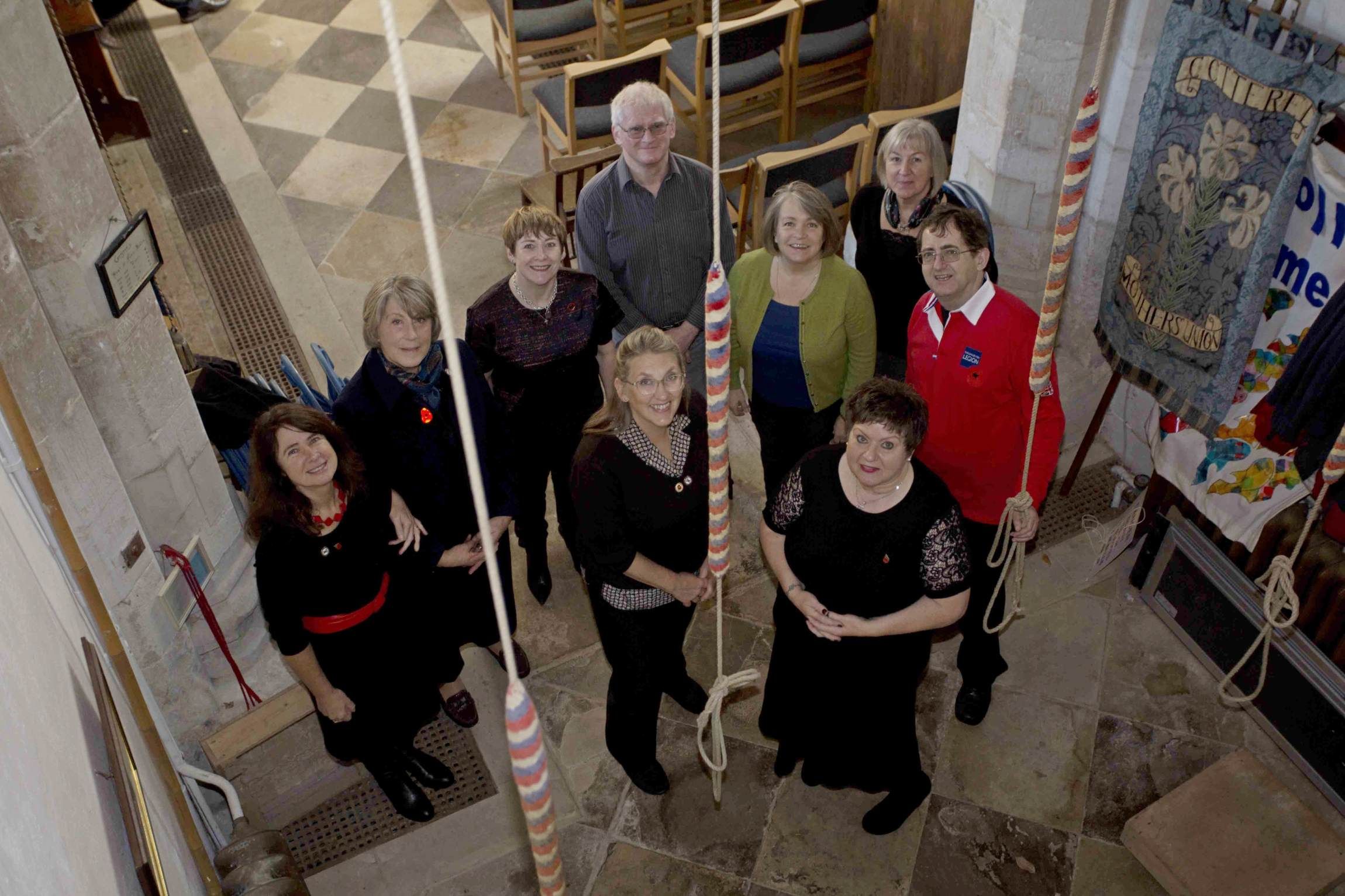 Left to right:  Jenny Thomson, Rita Broxup, Melanie Shaw, Simon Cassia (back), Lois Kennedy (front), Christine Robinson (Conductor, in green), Tina Reed (front), Sian Reed (back) and David Morgan (far right).