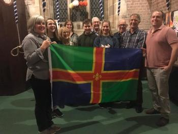 Lincoln Diocesan Guild members with the Lincolnshire Flag at Butterwick, on Lincolnshire Day 2019.