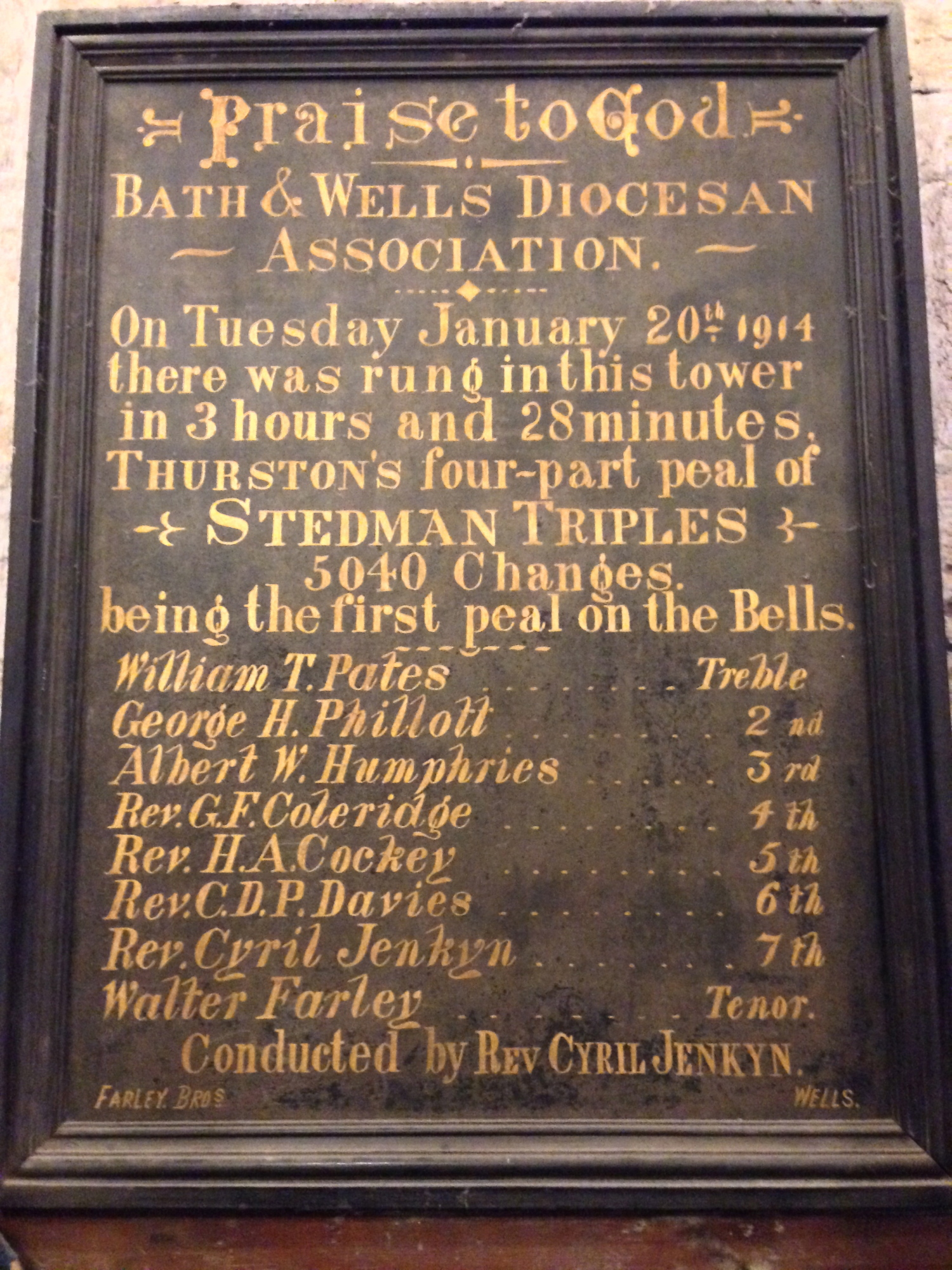 Peal board of the first peal on the bells.