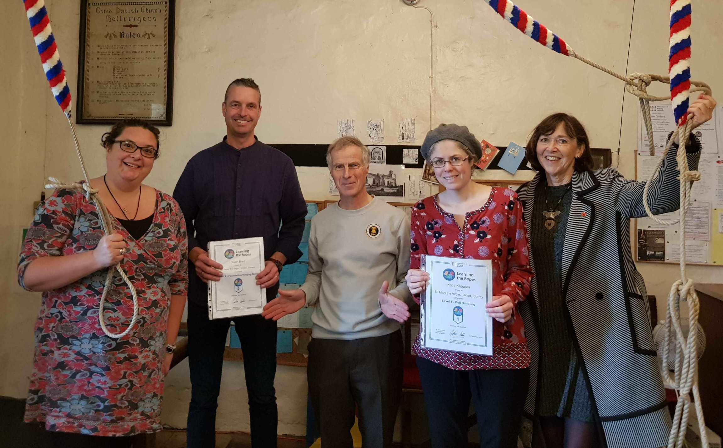 Presentation of ART certificates on Remembrance Day to Stuart Brett (L2) and Katie Knowles (L1) by Ian Griffiths (tutor).  Also Nikki Paintin (left) and Rosalyn Dale (right).
