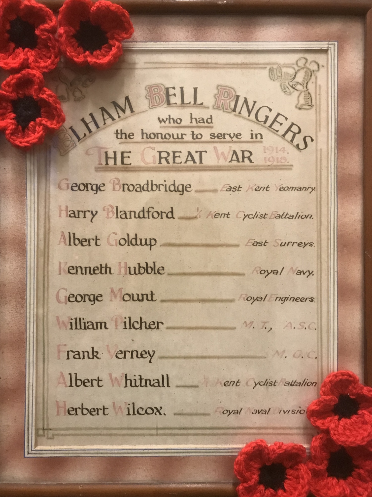 The names of the Elham ringers who fought in The First World War.