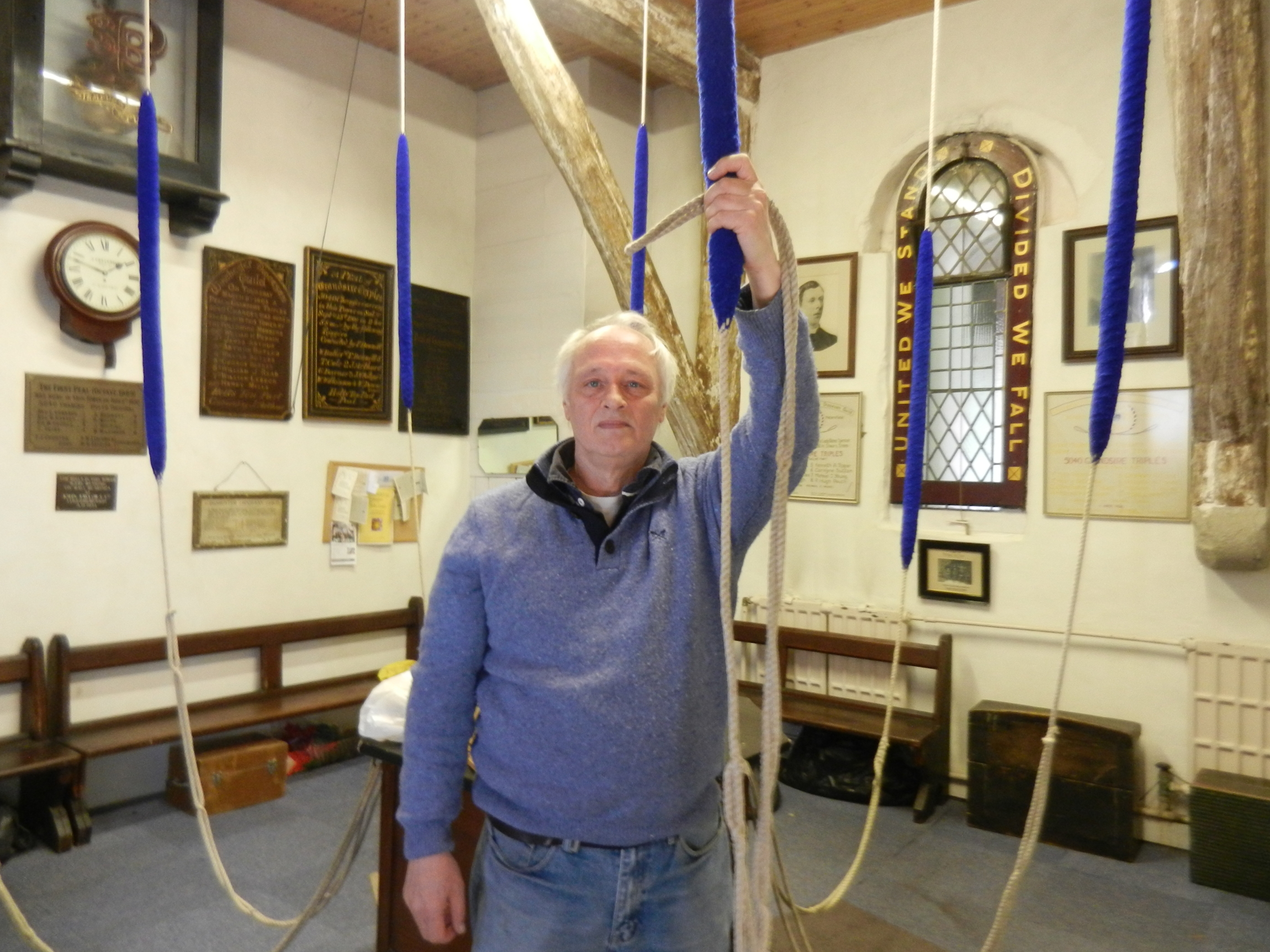 Photograph of Barry Wateridge, at St Peter's Church Bell Tower, Petersfield before he commenced ringing for the Duke of Edinburgh's Funeral Windsor.