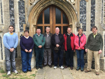 The band after the first peal on the new bells at Horringer, standing in order of ringing L to R