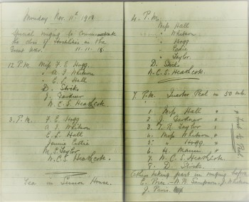 Entry from the St Cuthbert's record book for ringing on 11 November 1918.