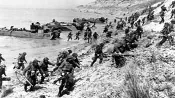 A photograph of the storming of the beaches