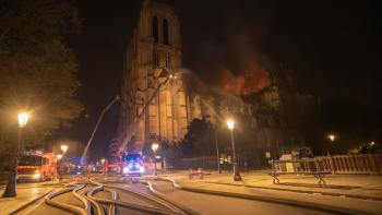 Firefighting operations at Notre Dame Cathedral in the evening of the 15th April, 2019