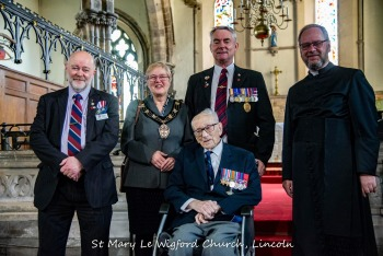Corporal P. Constance, who landed on the beaches at Normandy, France on the 6th June 1944, pictured here at St Mary's following the Act of Remembrance with the Mayor of Lincoln.