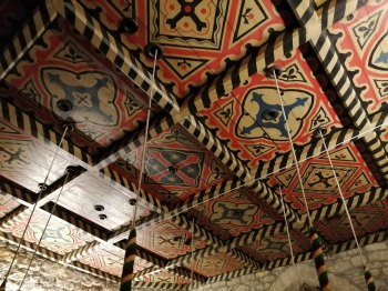 The stunning ringing room ceiling of Kirton in Lindsey, where the ringers of 5 and 6 were made very welcome as visitors last night.