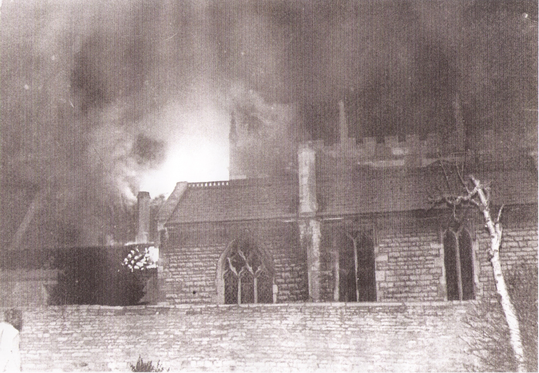 All Saints Church Branston on fire, Christmas Day 1962.