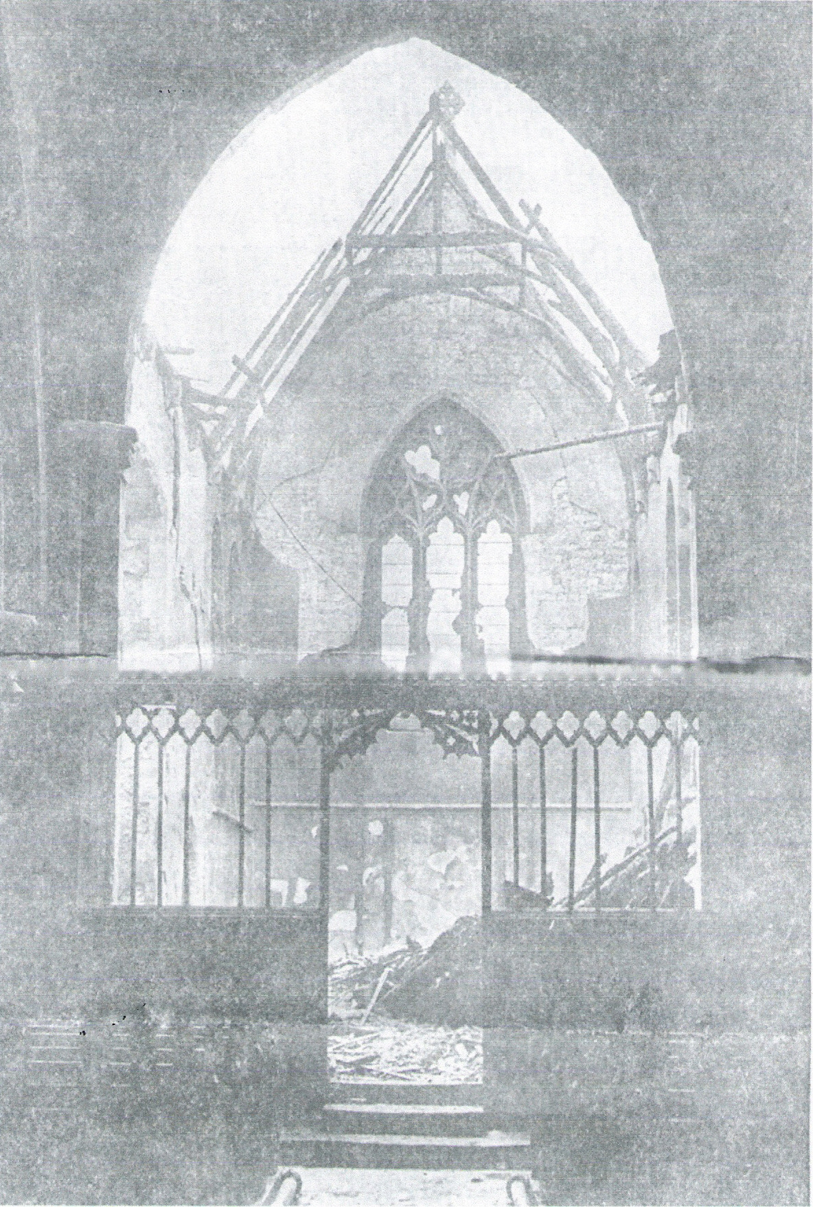 The Chancel destroyed after the fire (which also destroyed the whole of the nave roof).