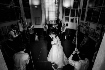 Bride and Groom at the centre of ringing
