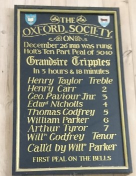 Peal Board for the first peal on the bells rung on Boxing Day 1818. This commemorative peal was the 85th on the bells.