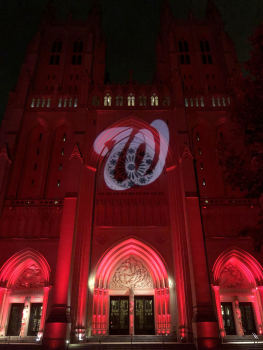 The Cathedral on Tuesday evening, lit up in support of the Nats.