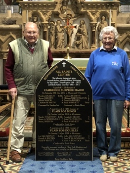 Stan and Sheila at the dedication of the peal board in recognition of their contribution to Clifton ringing over the years