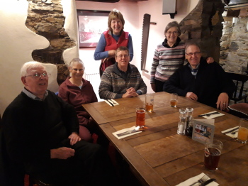 And afterwards in the Whitchurch Inn - (l-r) the Smiths, the Campbells, the Browns