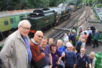 Alresford station footbridge with Bernard Groves, Maurice Edwards, Richard Burton, Nick Haggett, Anthea Edwards, Philip Saddleton, David Hilling and Mark Esbester.