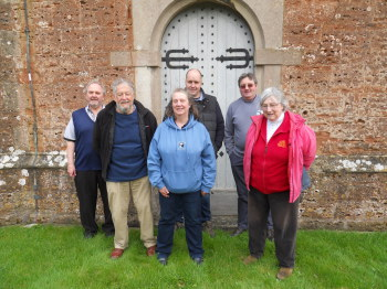 From front right in order of ringing: Sheila Matthews, Lorna Swan, Barrie Hendry, Brian Mountjoy, Matthew Higby, Andrew Ball