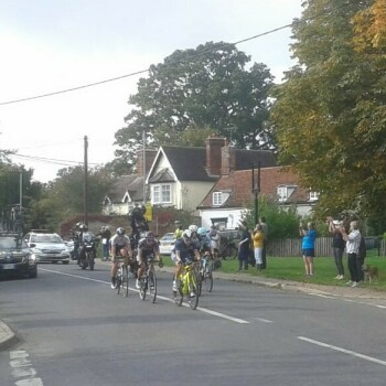 Some of the riders passing through Great Finborough.