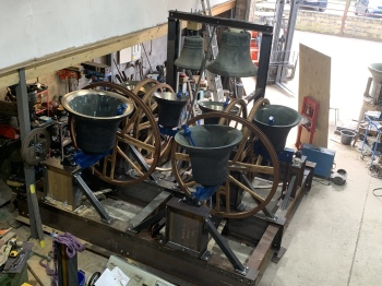 The bells for Buckhorn Weston fully assembled in the works.