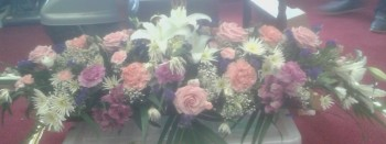 The flowers from Freda's coffin, in the tower 10 days after her funeral.