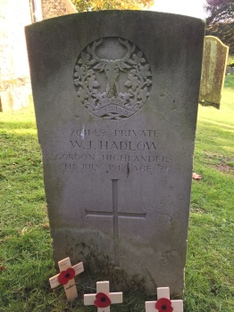 The grave of Private W.J.Hadlow