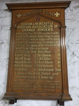 1918 Peal Board at Newcastle cathedral.