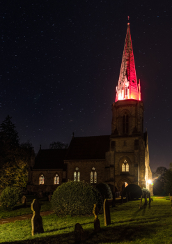 All Saints Spire (Nocton) floodlit red for Armistice this evening