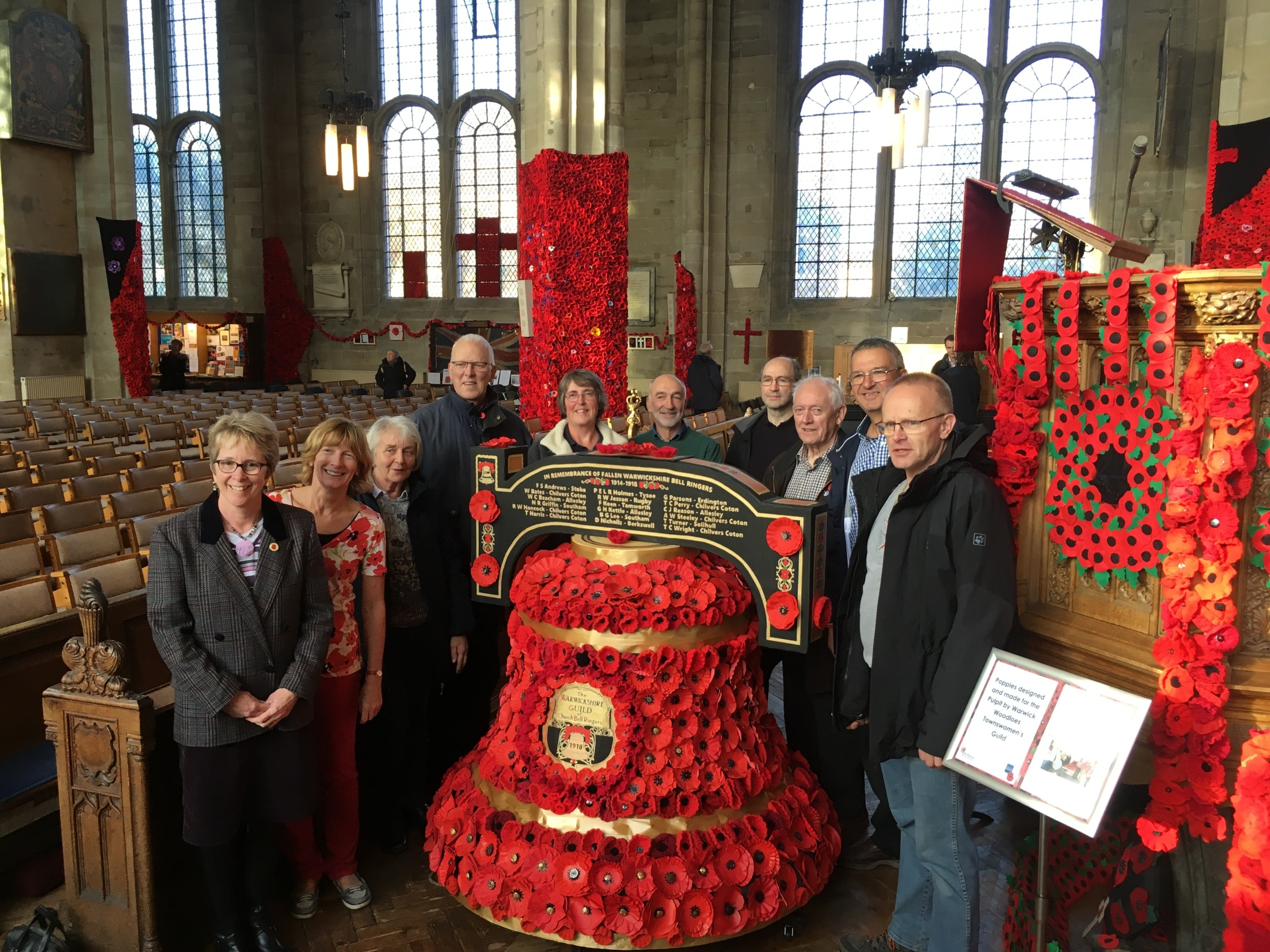 "In ringing order by the ""poppy bell"" designed and created by Karen French for Warwick Poppies in St Mary's Church."