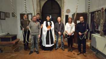 The band (Nick and Jane missing) with the Revd. Thomas Sander (a ringer himself).