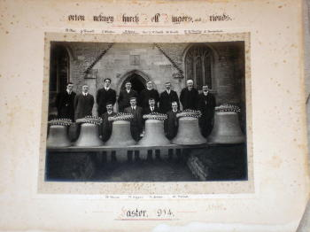 Bell ringers in 1914, marking the augmentation of the bells.